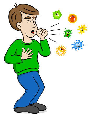 vector illustration of a cartoon man coughing and surrounded by viruses Vettoriali