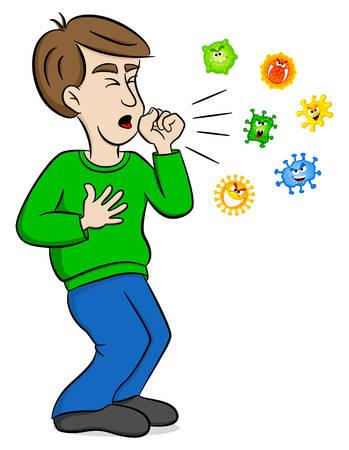 vector illustratie van een cartoon man die hoort en omringd wordt door virussen