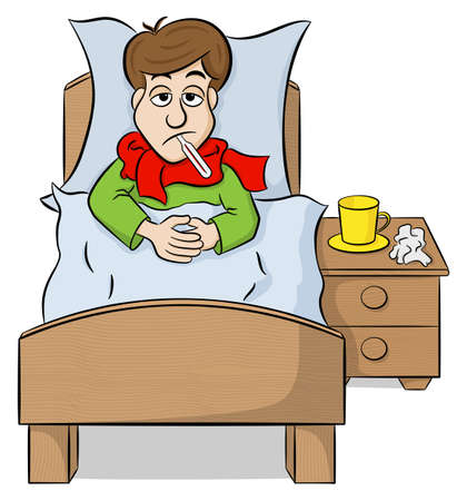 lying in bed: vector illustration of a cartoon man lying in bed with fever