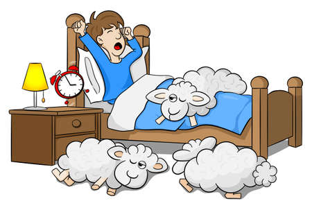 lying in bed: vector illustration of a man wakes up in the morning by the alarm clock Illustration