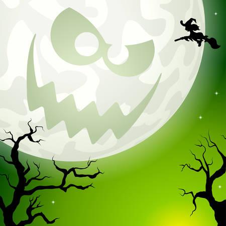 Creepy Halloween full moon