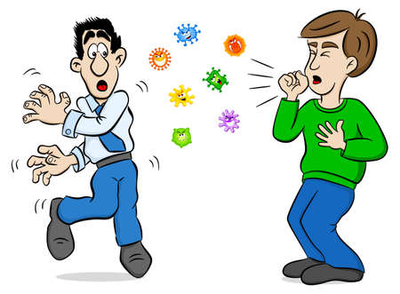 Cartoon man coughing and surrounded by viruses Stock Illustratie