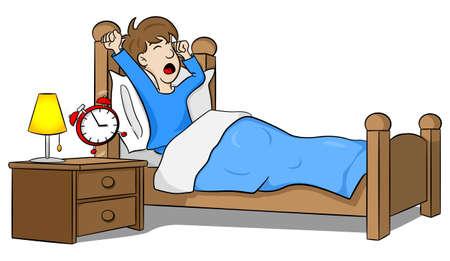 男のイラストは、目覚まし時計で朝目覚めます。