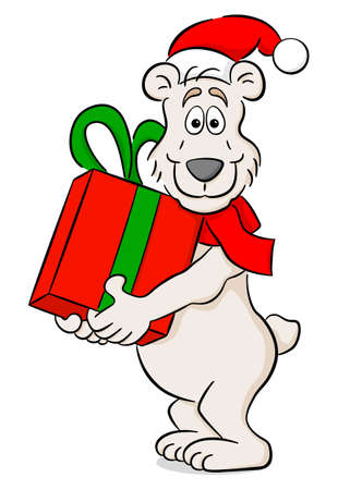 vector illustration of a cartoon christmas polar bear with gift