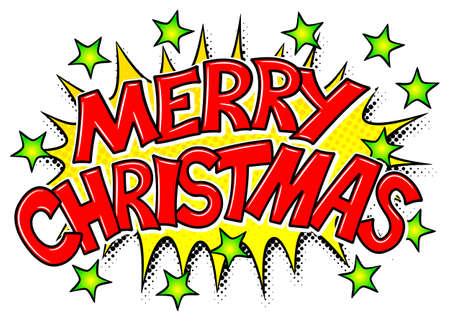 Illustration of a Merry Christmas comic speech bubble