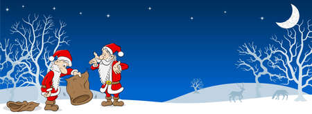 vector illustration of two santa claus with empty bags