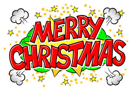 vector illustration of a Merry Christmas comic speech bubble
