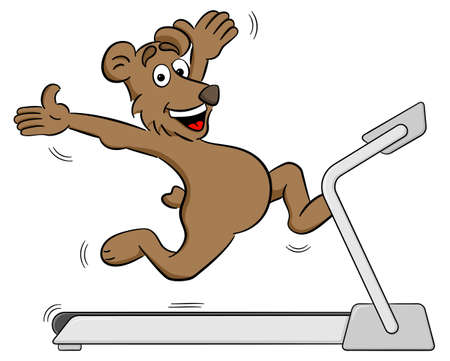 vector illustration of a fit bear jogging on a treadmill Illustration