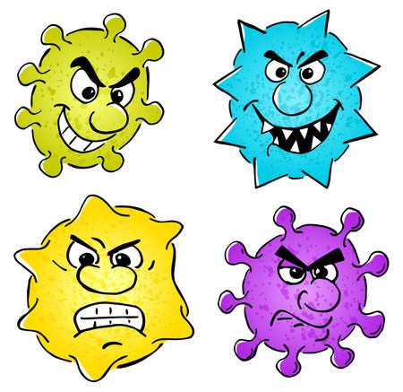 Vector illustration of some wild cartoon viruses set