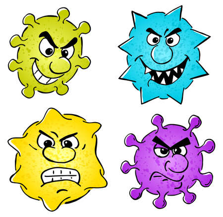 Vector illustration of some wild cartoon viruses set