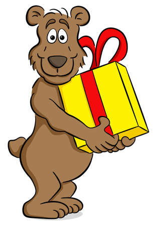 vector illustration of a cartoon bear with gift