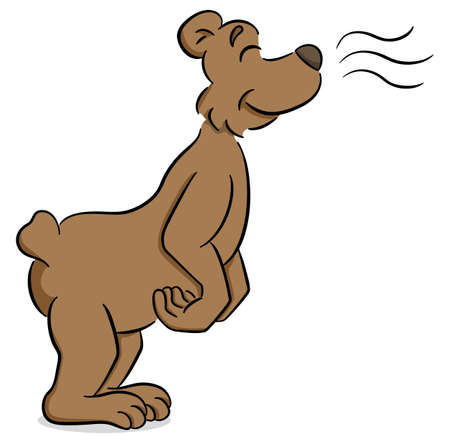 Vector illustration of a sniffing cartoon bear Illustration