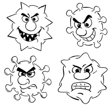 Vector illustration of some wild cartoon viruses