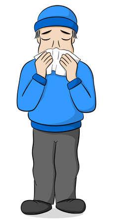 vector illustration of a sneezing cartoon man Banco de Imagens - 96902777