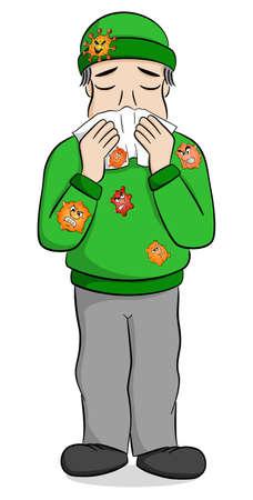 vector illustration of a sneezing cartoon man