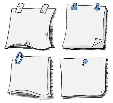 vector illustration of a set of different scribbled notepads with free space Vettoriali