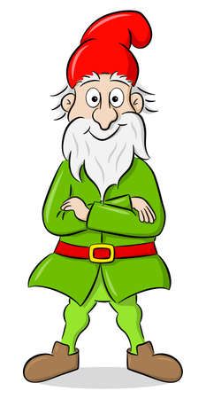 vector illustration of a cartoon garden gnome stands with his arms crossed and smiles