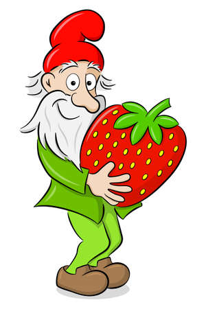 vector illustration of a cartoon garden gnome carrying a strawberry Illustration