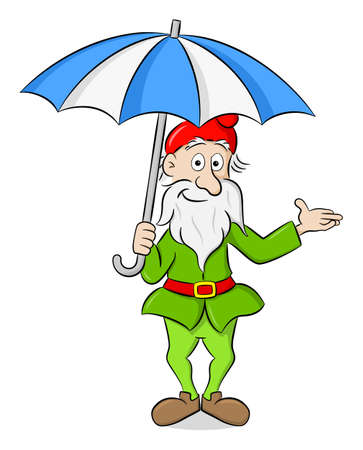 vector illustration of a cartoon garden gnome standing under an open umbrella