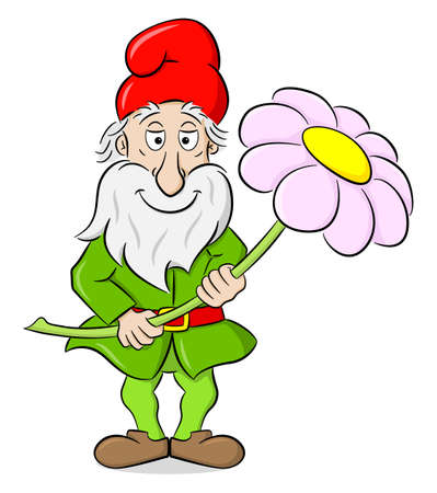 vector illustration of a cartoon garden gnome holding a single flower in his hands