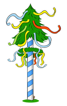 vector illustration of a bavarian cartoon maypole with colorful ribbons Illustration