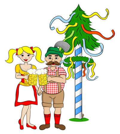 vector illustration of a Bavarian couple with dirndl and lederhosen in front of a maypole Illustration