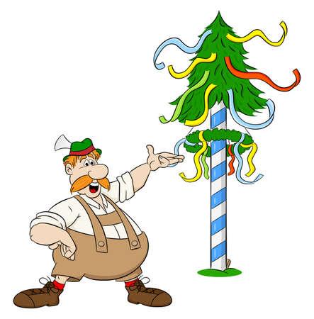 vector illustration of a cartoon Bavarian in front of a maypole Illustration