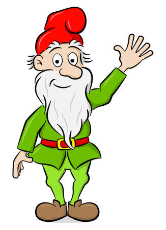 vector illustration of a waving garden gnome