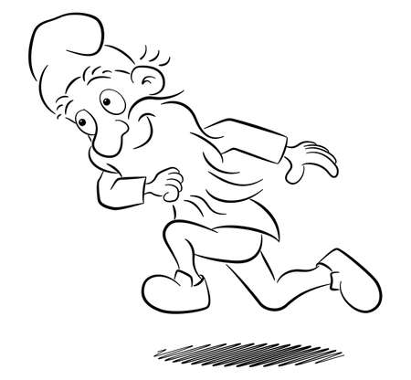 vector illustration of a running garden gnome having fun
