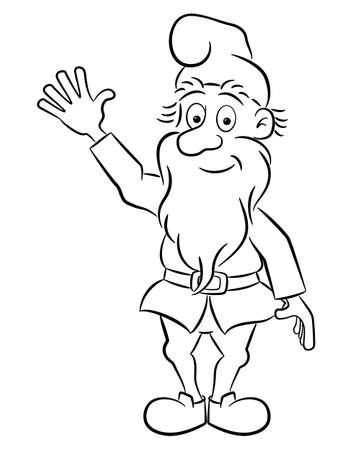 vector illustration of a waving garden gnome