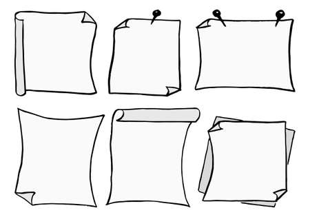 vector illustration of a set of different scribbled notepads with free space Illustration