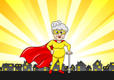 vector illustration of a senior super heroine with cape Illustration