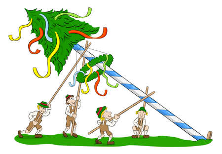 vector illustration of a maypole being set up by strong men