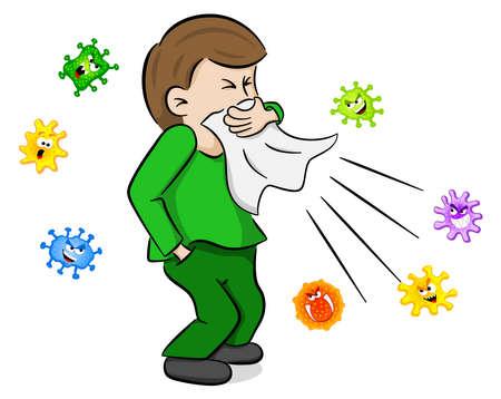 vectorillustratie van een niezen man met ziektekiemen Vector Illustratie