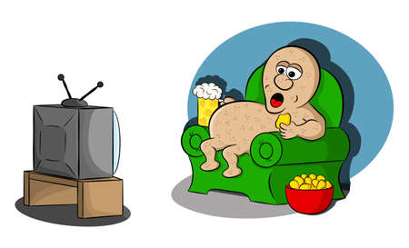 vector illustration of a couch potato watching tv Stock Vector - 111953868