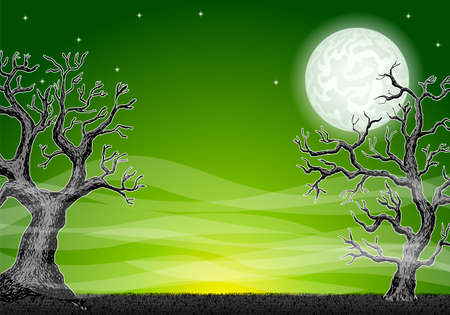vector illustration of a halloween background with a full moon night