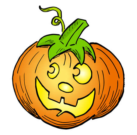 vector illustration of a hand drawn halloween pumpkin with face 矢量图像