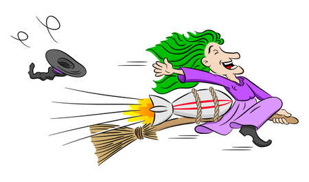 vector illustration of a witch flying on a rocket powered broom