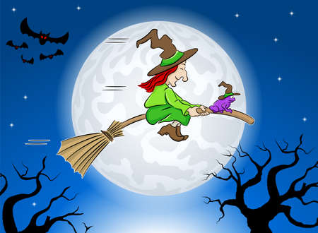 vector illustration of a witch and her toad flying on a broom