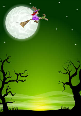 vector illustration of an halloween background with a flying witch and full moon