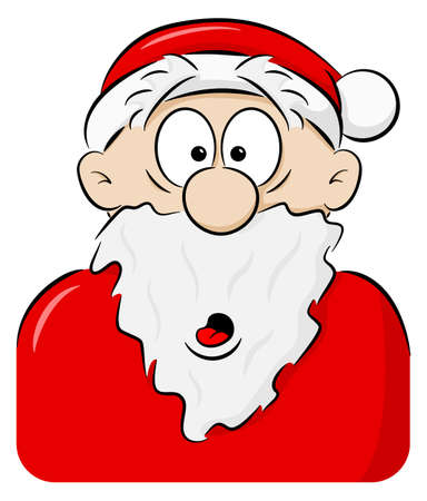 vector illustration of a portrait of a surprised Santa Claus