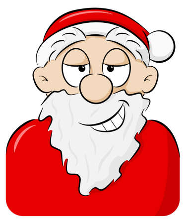 vector illustration of a portrait of a playfully grinning Santa Claus