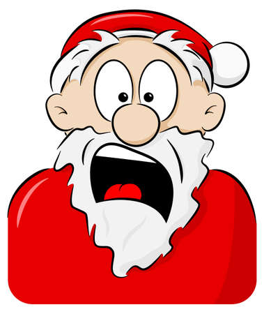 vector illustration of a portrait of a shocked Santa Claus