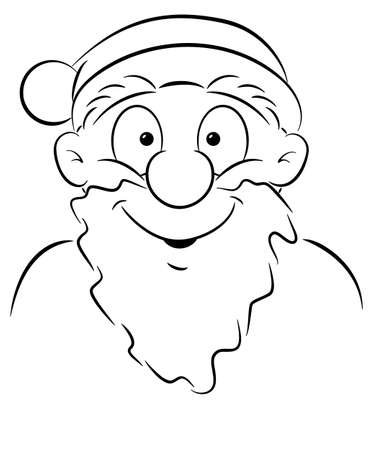 vector illustration of a portrait of a smiling Santa Claus