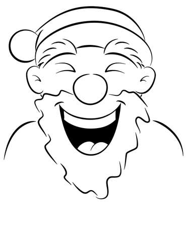 vector illustration of a portrait of a laughing Santa Claus