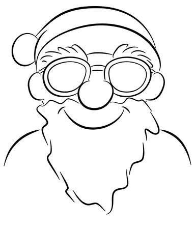 vector illustration of a smiling cartoon santa claus with sunglasses  イラスト・ベクター素材