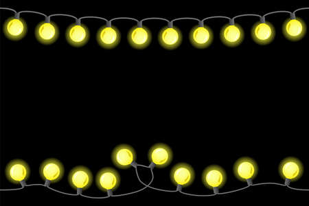vector illustration of seamless chains of lights on black background