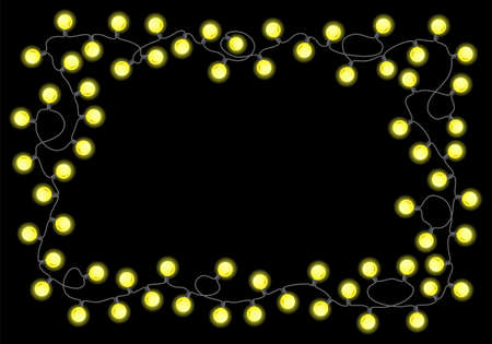 vector illustration of a chain of lights on black background  イラスト・ベクター素材