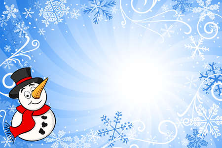 vector illustration of a blue christmas background with a snowman
