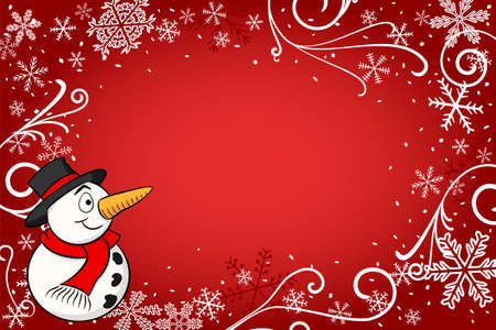 vector illustration of a red christmas background with a snowman Ilustração